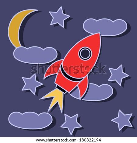 space rocket space  stars
