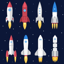 Space Rocket Start Up and Launch Symbol New Businesses Innovation Development Flat Design Icons Set Template Vector Illustration