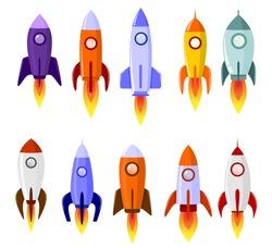 Space rocket start up launch symbol innovation development technology.