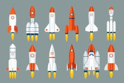 Space rocket start up launch symbol innovation development technology flat icons design set template vector illustration