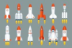 Space rocket start up launch symbol innovation development technology flat icons design set template vector illustration