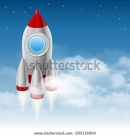 space rocket takes off from the