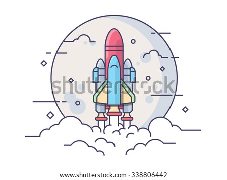 Space rocket. Technology spaceship, science and shuttle, startup business. Line vector illustration