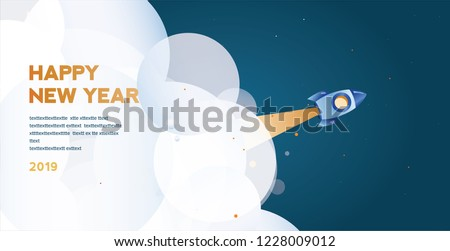 Space rocket . Year of opportunities for startup launch. Concept of 2019 - year of opportunities for you business. Vector landing page template. flying spacecraft,  successful product release.