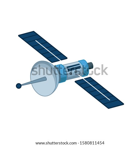 space satellite icon over white background, vector illustration