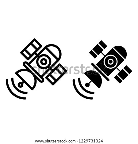 Space satellite line and glyph icon. Sputnik vector illustration isolated on white. Telecommunication outline style design, designed for web and app. Eps 10