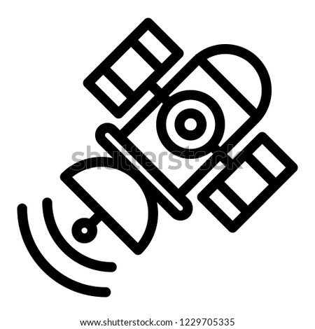 Space satellite line icon. Sputnik vector illustration isolated on white. Telecommunication outline style design, designed for web and app. Eps 10