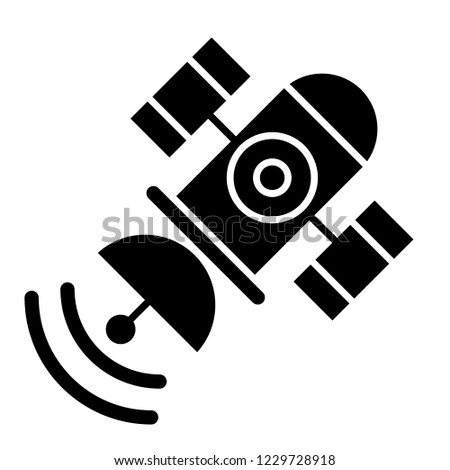 Space satellite solid icon. Sputnik vector illustration isolated on white. Telecommunication glyph style design, designed for web and app. Eps 10
