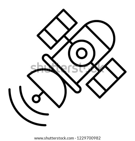 Space satellite thin line icon. Sputnik vector illustration isolated on white. Telecommunication outline style design, designed for web and app. Eps 10