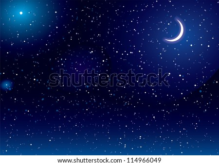 space scene with stars and moon
