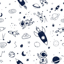 Space seamless pattern print design. Vector illustration design for fashion fabrics, textile graphics, prints.