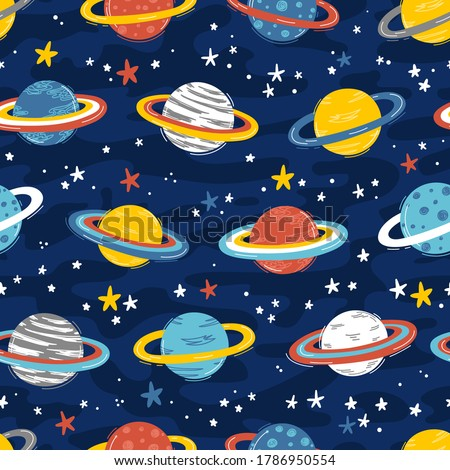 Space Seamless Pattern with Planets and Stars. Doodle Cartoon Cute Saturn Planet. Space Vector Dark Blue Background for Kids