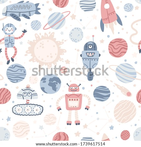 space seamless pattern with