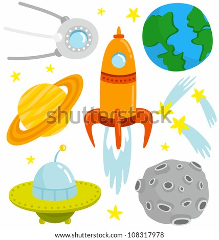 Space Set. Cartoon space set with vector elements.