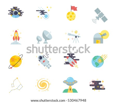 Space set of vector icons