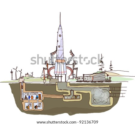 space ship launch illustration