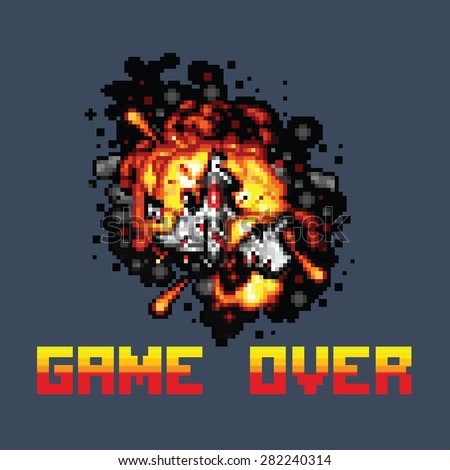 space ship on fire pixel game