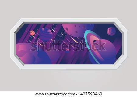 Space ship porthole. Futuristic window with galaxy sky, stars and planet. Rocket vector interior. Cosmic travel background.