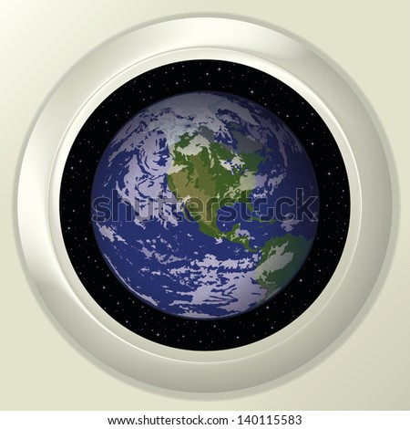 Space ship round window porthole with planet Earth and stars on white wall. Elements of this image furnished by NASA. Vector
