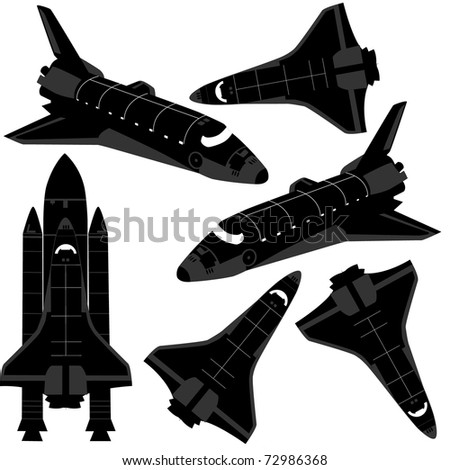 space ship silhouette vector