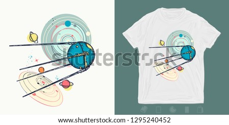 Space ship sputnik in univrse. Print for t-shirts and another, trendy apparel design. Symbol of space expedition, science, future, research of solar system. Universe art