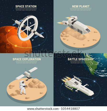 Space ships and station for exploration and battle 2x2 design concept isolated on colorful background 3d isometric vector illustration