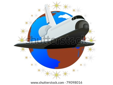 Space shuttle against the backdrop of the planet Earth
