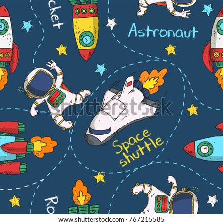 stock-vector-space-shuttle-and-astronaut-doodle-pattern