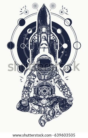 space shuttle and astronaut in