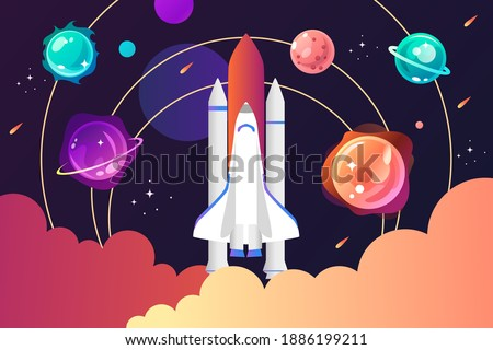 Space shuttle and solar system. Colorful planets, rocket, galaxy and universe. Space cartoon childrens poster. Vector modern illustration. Template for landing page, banner, poster. EPS10