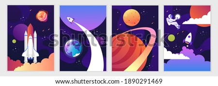 Space shuttle and universe. Colorful planets, rocket, galaxy and universe. Set of cartoon space backgrounds. Vector modern illustration. Templates for flyers, banners, cards, covers, frames, poster.
