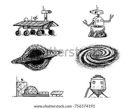Space Shuttle Black Hole And Galaxy Robot Mars Lunar Rover Moonwalker