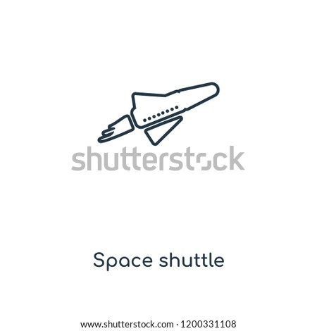 Space shuttle concept line icon. Linear Space shuttle concept outline symbol design. This simple element illustration can be used for web and mobile UI/UX.