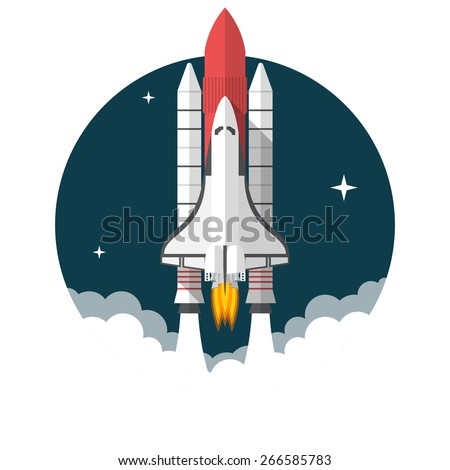 space shuttle  flat design