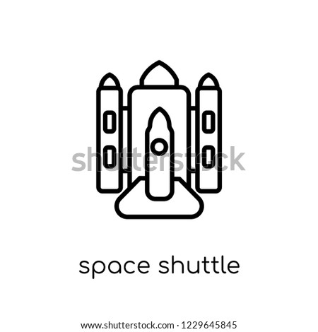 space shuttle icon. Trendy modern flat linear vector space shuttle icon on white background from thin line Astronomy collection, outline vector illustration