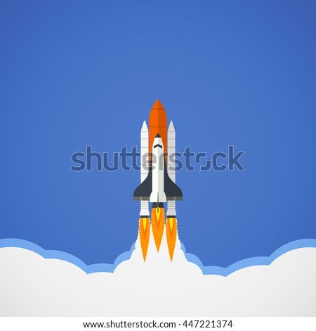 space shuttle launch in flat icon design in blue sky background (vector)