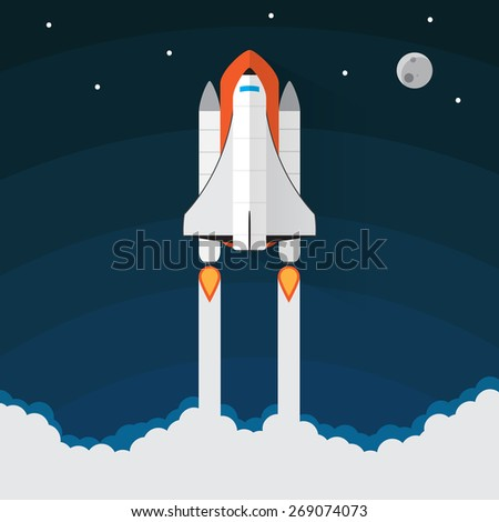 Space Shuttle Launch. Spaceship and space background