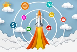 space shuttle launch to the sky. start up business concept ,financial idea are competing for success and corporate goal. creative. icon. vector illustration paper art