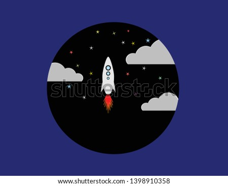 space shuttle launched to cosmic voyage. When stars shining on the partly cloudy sky, space shuttle launched to cosmic voyage.