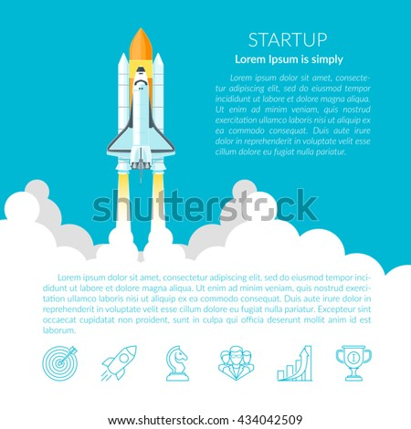 Space Shuttle. Space shuttle taking off on a mission. Projects template for business