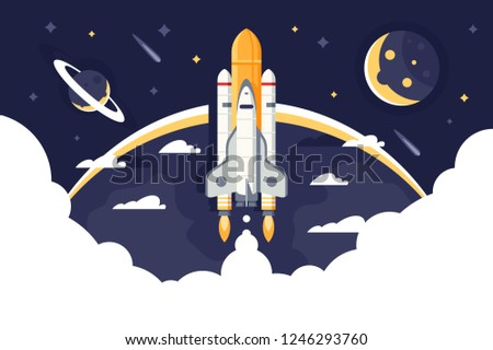Space shuttle takes off, rocket from earth into space and flights among stars. Concept aircraft for science, expeditions and tourism. Vector illustration.