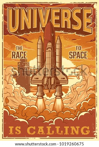Space shuttle taking off on a mission. Vector vintage poster.