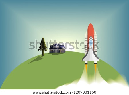 Space Shuttle to Space Target To find a challenge And success,with sunrise background,vector art and illustration.