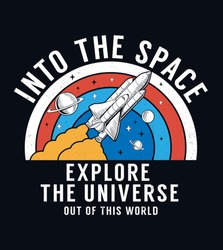 Space slogan graphic, with space theme vector illustrations and sequins. For t-shirt prints, posters and other uses.