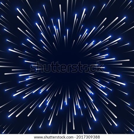 Space speed background, blur motion lights. Particle motion trails. Abstract background travel through time and space. Glowing stars or comets moving from center to the edge with super fast motion . Foto stock ©