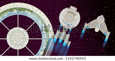 space starbase station and ship