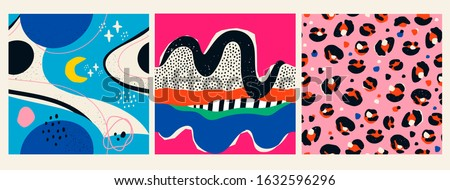 Space, stars, planets, leopard print, various shapes and doodle objects. Set of three Abstract contemporary modern trendy Vector Seamless patterns. Wallpapers. Perfect for textile prints