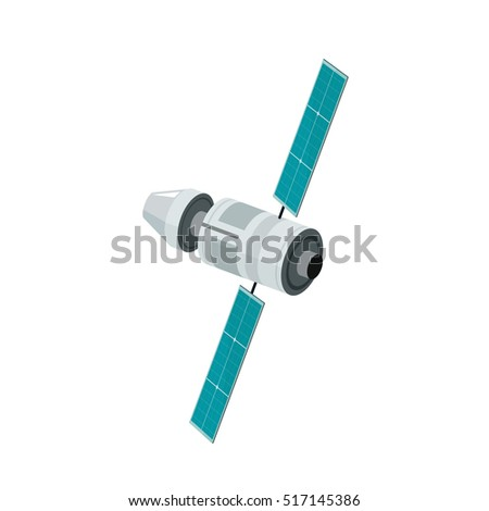 Space station isolated vector illustration on white background, flat style satellite flying