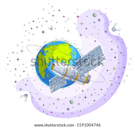 Space station orbiting around earth, spaceflight, spacecraft spaceship iss with solar panels, artificial satellite, surrounded by stars and other elements. Thin line 3d vector illustration.