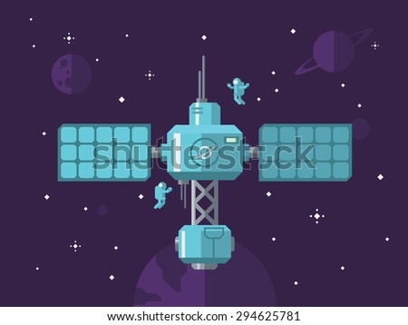 space station with astronauts